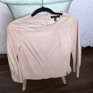 Petite Leather Blouse